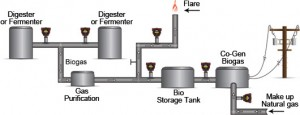 Illustration of a biogas congeneration system with thermal flow meter